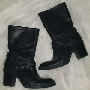 GILARY Style Born Leather Zip MidCalf Boots B47103